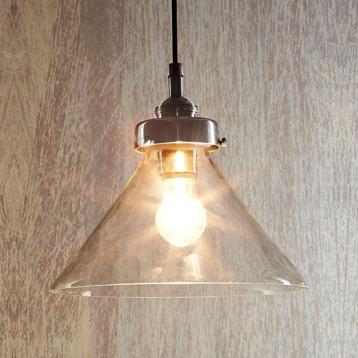 Vintage Style Glass Pendant Light | Antique Silver
