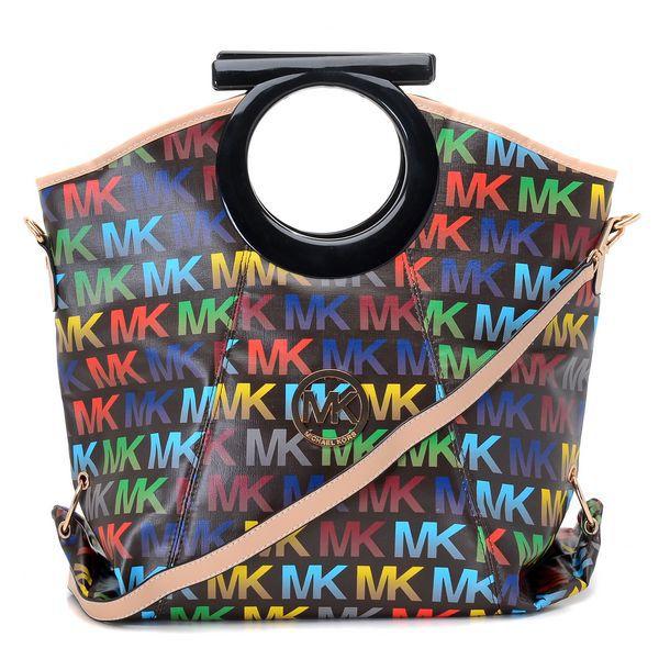 MICHAEL KORS : Michael Kors Berkley Logo Large Black Multicolor Clutches