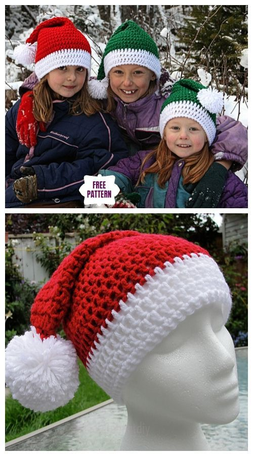 Häkeln Sie Weihnachtsmann Pom Pom Hat Free Crochet Patterns