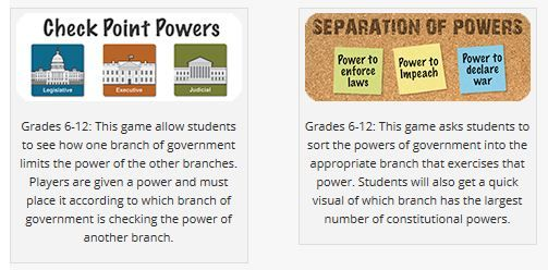 More game-based learning projects from the State Bar of Texas. Which branches of government hold what powers? Play to learn! Grades 6-12.