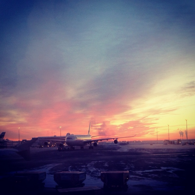 Sunset at Helsinki Airport, with a Finnair A340.