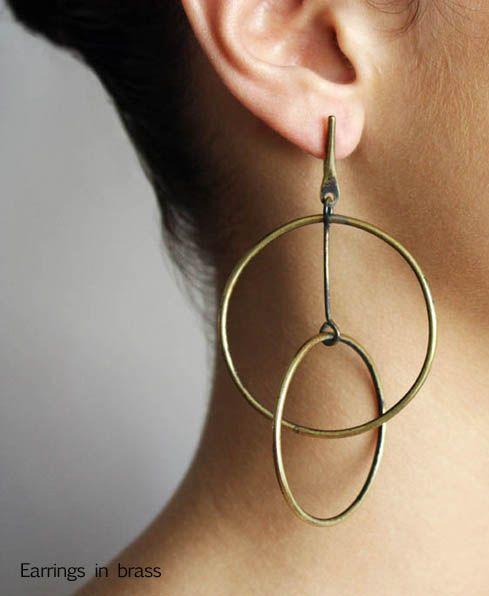 Earrings | Art Smith, brass