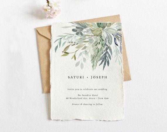 Greenery Wedding Suite Watercolour Wedding Kit Diy Minimal Etsy Wedding Kit Minimal Wedding Invitation Greenery Wedding