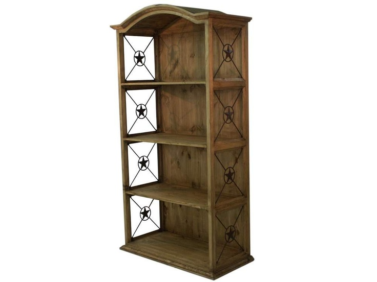 Rustic Wood Bookcase With Iron Texas Stars