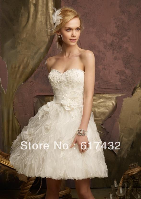 Шорты свадебные платья милая рукавов оборками многоуровневое длиной до колен бисероплетение органзы короткое свадебное платье
