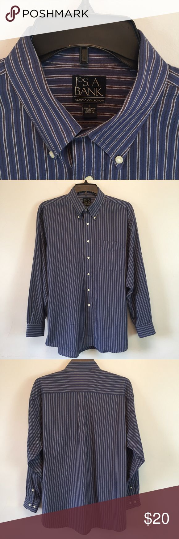 Jos. A. Bank Shirt Mens L Large Blue Striped EUC (With