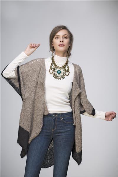 1503: Modell 14 Cape #strikk #knit #fashion #tweed #alpakka #mohair