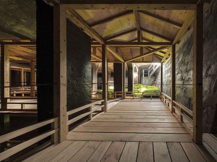Wooden walkway in Dinesen Douglas at The Cisterns x Sambuichi