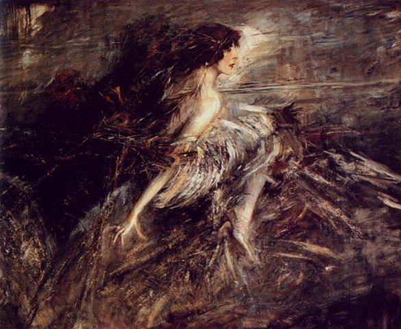 """Giovanni Boldini (Italian, 1842-1931) """"La Marchesa Luisa Casati con piume di pavone"""""""