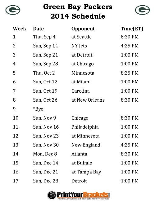 Printable Green Bay Packers Schedule - 2014 Football Season