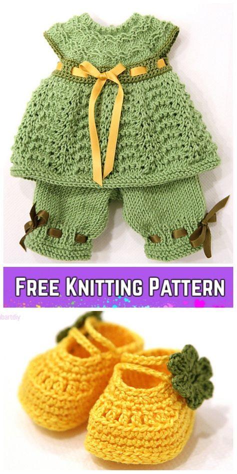 Knit Baby Sasha Doll Dress Pants Set Free Knitting Pattern | Dolls ...