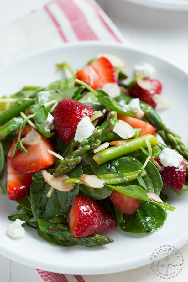 Strawberry, Spinach and Asparagus Salad with fresh spring veggies creates a beautiful and delicious salad!
