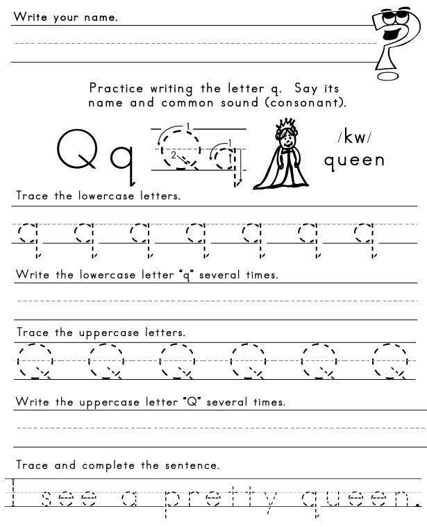 Q Worksheets For Preschool Letter Q Worksheet Plus Pretty Spelling Word From Last In 2020 Letter Q Worksheets Writing Practice Worksheets Spelling Words