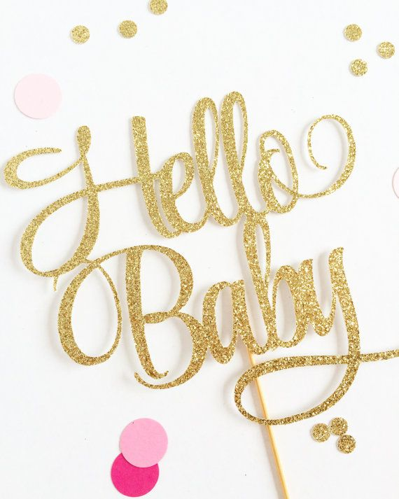 Glittery Hello Baby Cake Topper customize to any by TopperAndTwine