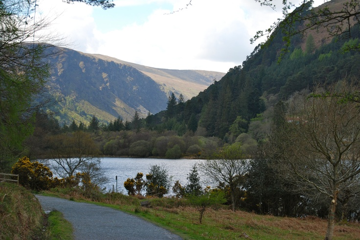 Lough (or 'lock) - one of two lakes at Glendalough, Co Wicklow. Glendalough was founded by St. Kevin.