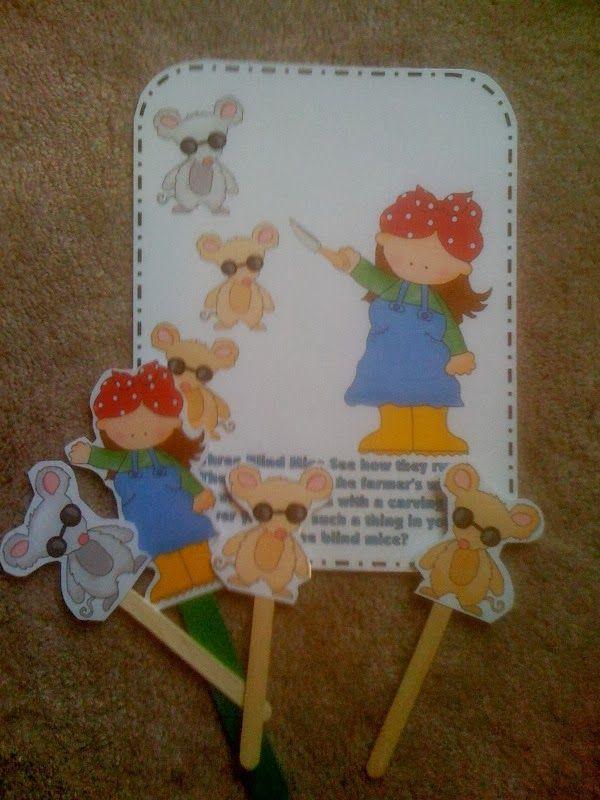 Preschool Printables: Free Three Blind Mice Rhyme & Puppet Sticks
