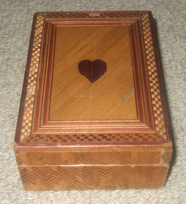 ANTIQUE STRAW WORK PLAYING CARD BOX c1880