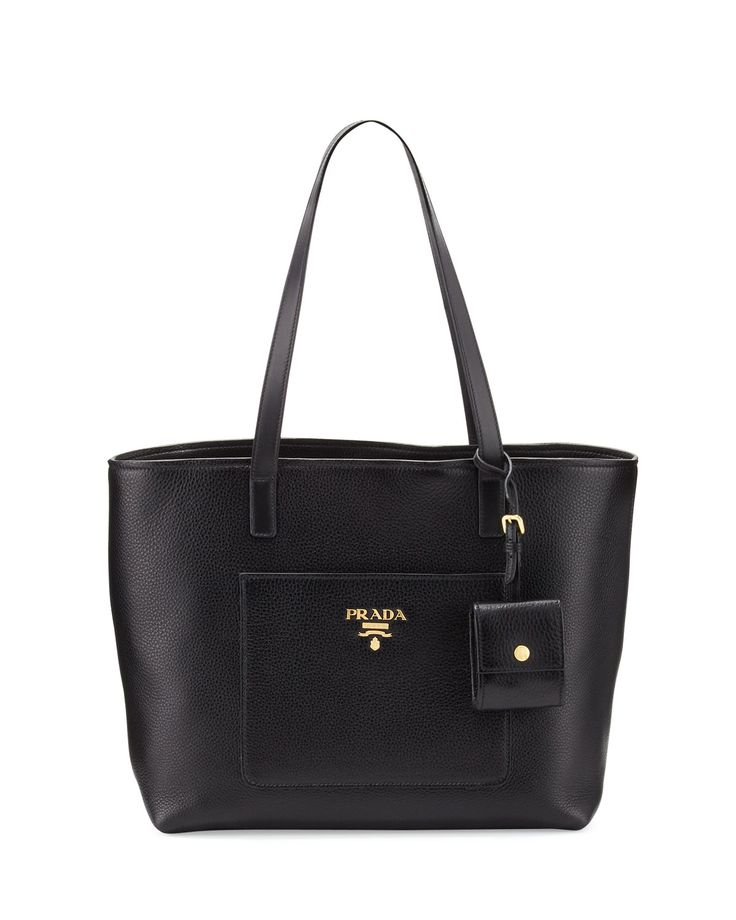 Prada Medium Vitello Diano Open Tote Bag, Black (Nero), Women's