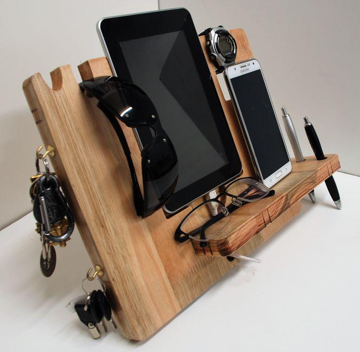 Organizador de escritorio para tablet / Celular, hecho en madera de eucalipto