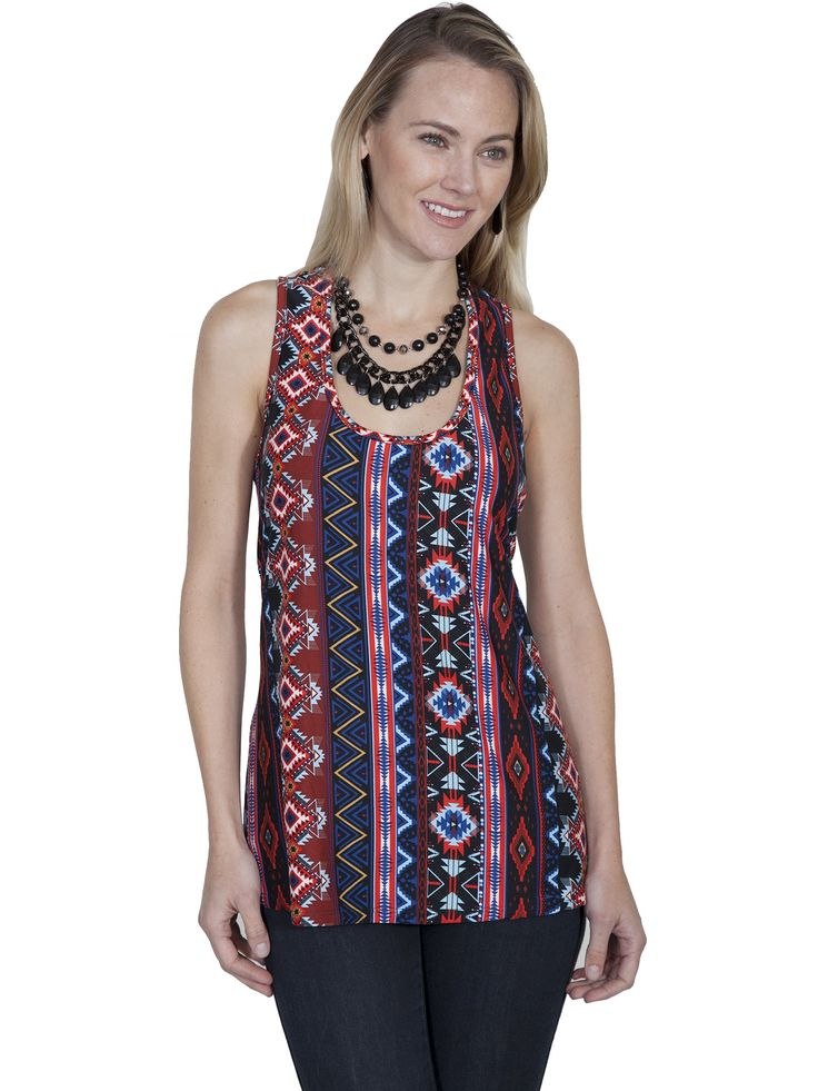 Ethnic Style Tank in Aztek | Cowgirl & Western Style | Bohemian & Prairie Tops | Victorian & Vintage Style | Honey Creek | Scully Leather