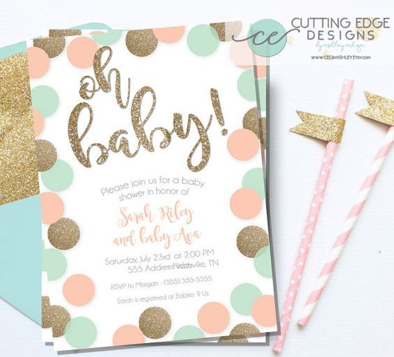 Peach Mint And Gold Glitter Baby Shower Invitation By CECbyAshley: