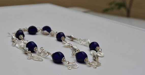 Royal Silver wired Necklace by MixNBeads on Etsy, $18.00