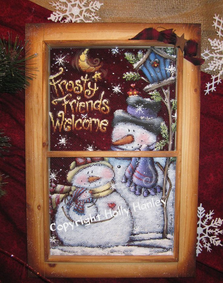Frosty Friends Screen Pattern Packet - Holly Hanley - Holly's Wine & Painting classes – Decorative Painting Supplies