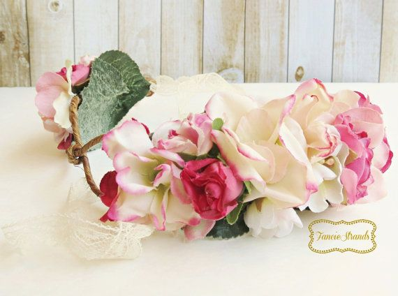 Pink Wedding Crown Flower Crown Floral Bridal by FancieStrands