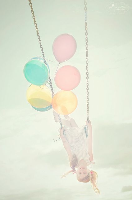 Child Photography   Outdoor Photo Session Idea   Kids   Props   Swing   Summer   Balloons