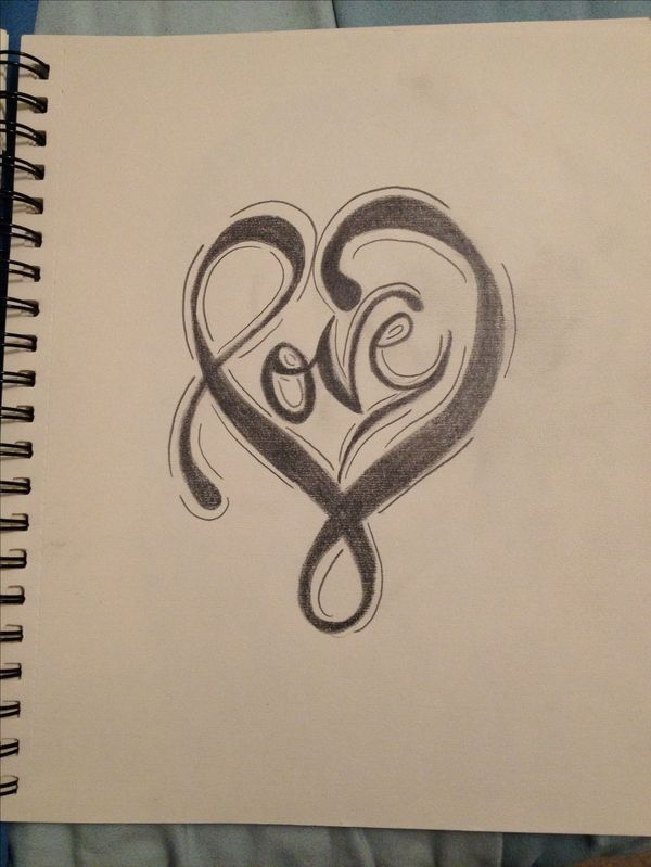 The word love in the shape of a heart.