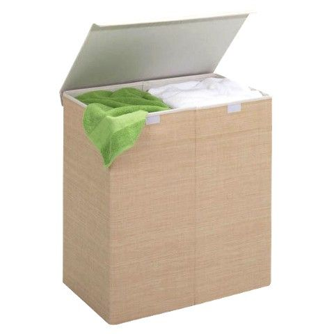 Double Laundry Hamper with Closing Lid - Tan