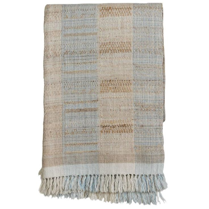 Indian Handwoven Throw, Light Blue, Beige and Ivory, Wool and Raw Silk 1