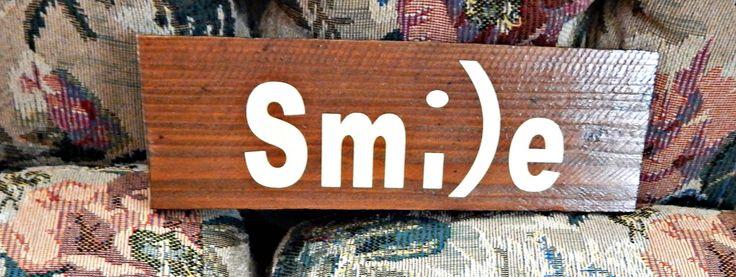 rustic smile sign barn wood homemade reclaimed wood refurbished wood home decor wall decor wedding gift housewarming gift emoji (12.50 USD) by PalletiumWoodworks