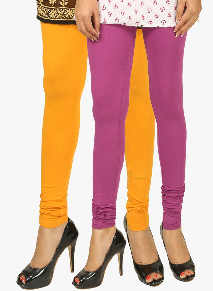 PACK OF 2 MULTICOLOURED COLOR SOLID LEGGINGS