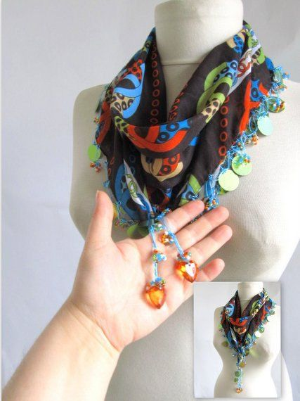 Christmas gift Brown Blue scarf Turkish oya scarf .lace by asuhan, $22.90