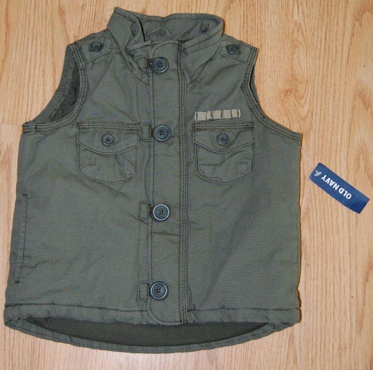 NWT Old Navy Boys 12 18 M Olive Green Cargo Vest Zipper