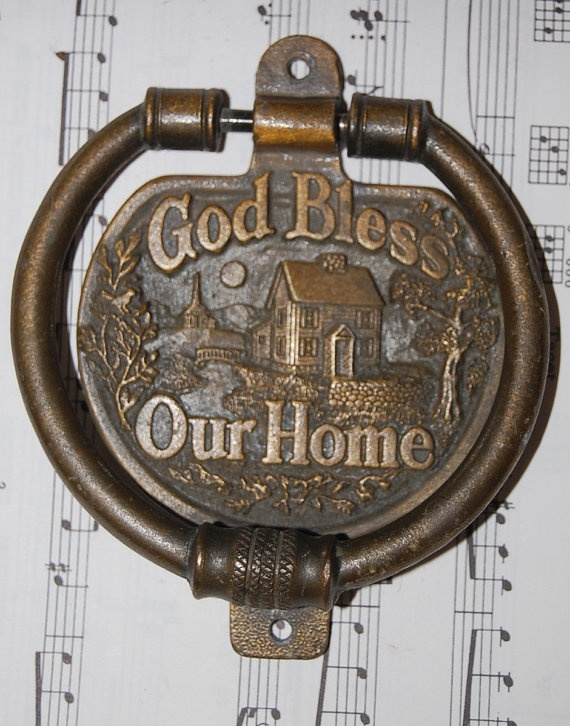 Vintage brass door knocker god bless our by penelopestreasures products i love - Vintage brass door knocker ...