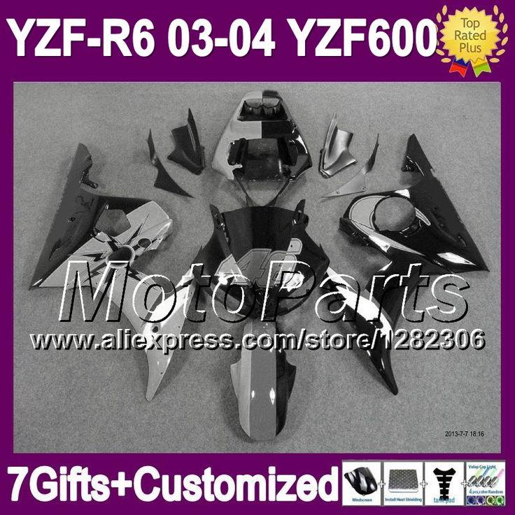 Серый черный 7 подарки + для YAMAHA YZF-R6 03 - 04 YZF R6 YZF R 6 2003 2004 серый 46 # blk * 9481 YZF600 R6 YZFR6 03 04 зализа комплект