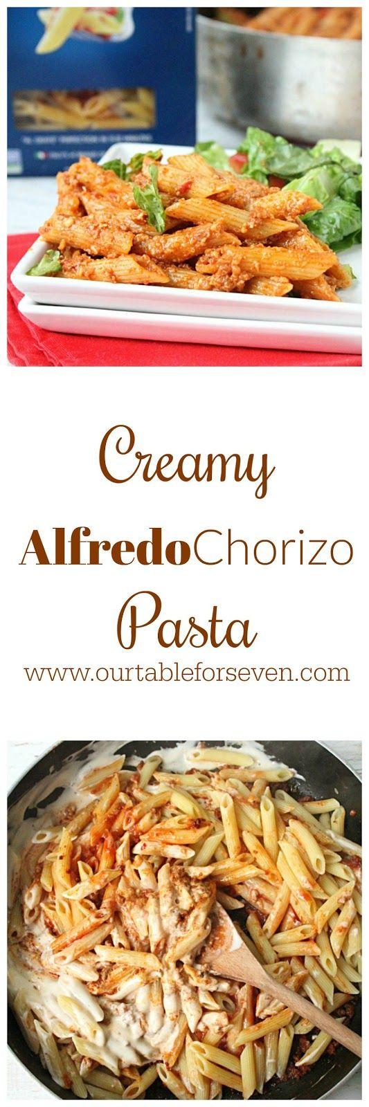 Creamy Alfredo Chorizo Pasta from Table for Seven #BarillaFusion #Ad