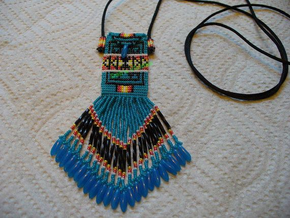 Dark Turquoise blue square/loom stitched Pendelton by DebsVisions, $75.00