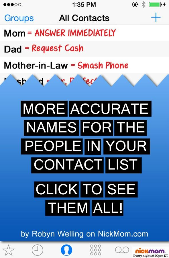 More accurate names for the people in your contact list - LOLs - contact list