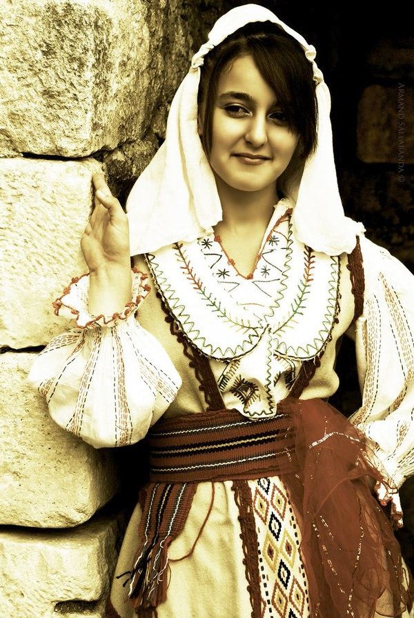 Albanian woman in traditional garb.