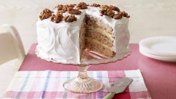 BBC Food - Recipes - Mary's frosted walnut layer cake