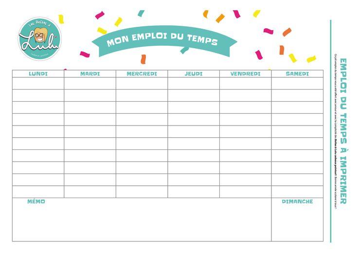 L'emploi du temps pour les petits ! #lesboitesalulu #semainer #organisation #enfants