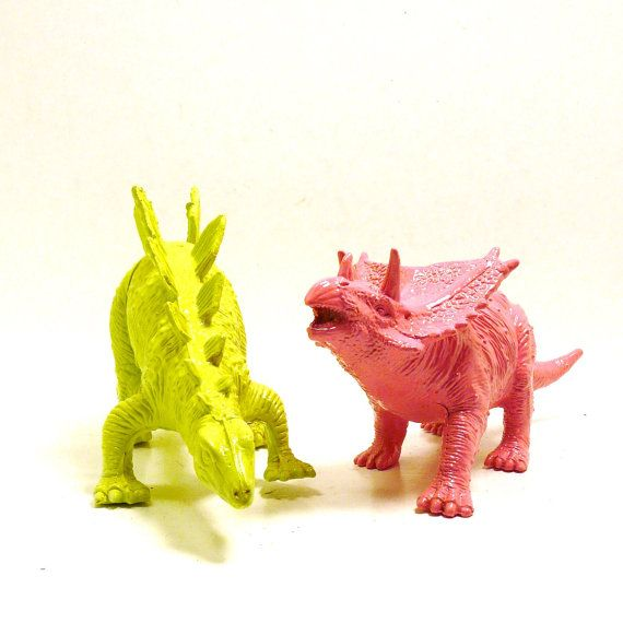 kids painted toys dinosaurs upcycled neon green hot by nashpop, $24.00