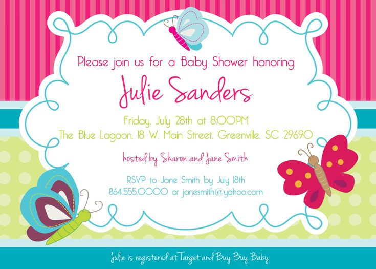 Create Butterfly Baby Shower Invitations Free Ideas