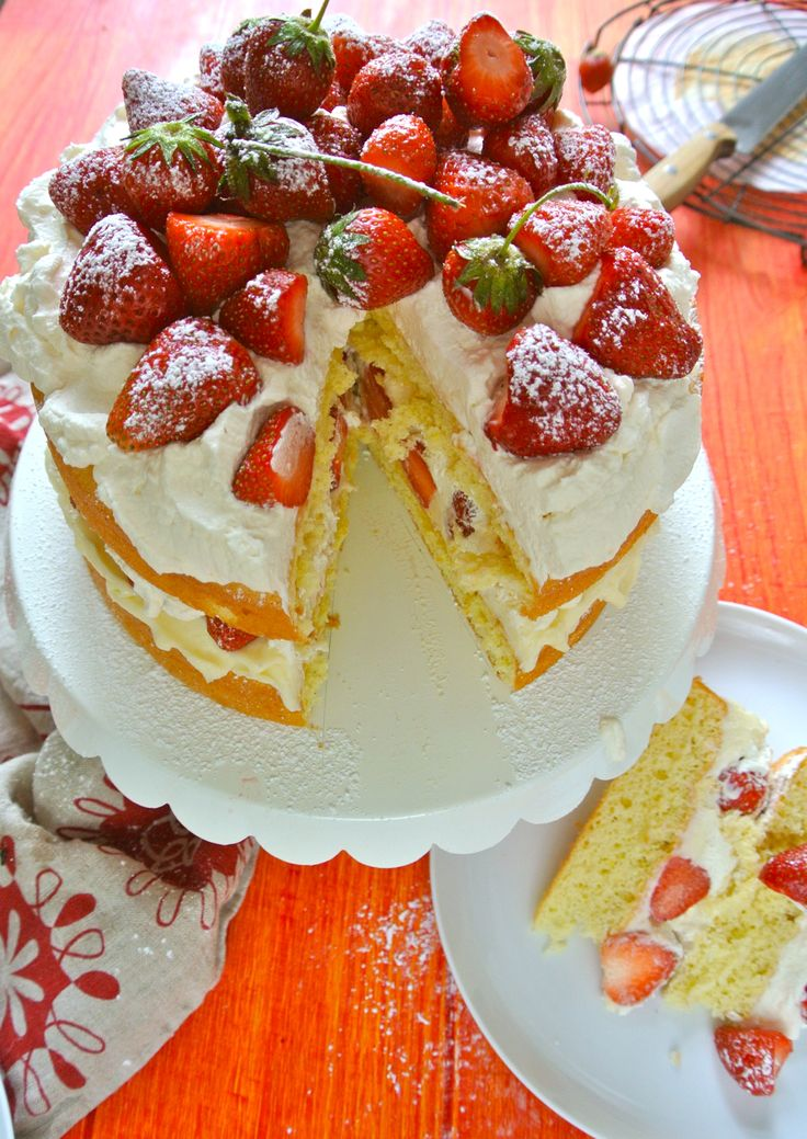 Ruby Red Strawberry Victoria Sponge Cake with Lemon Mascarpone Filling