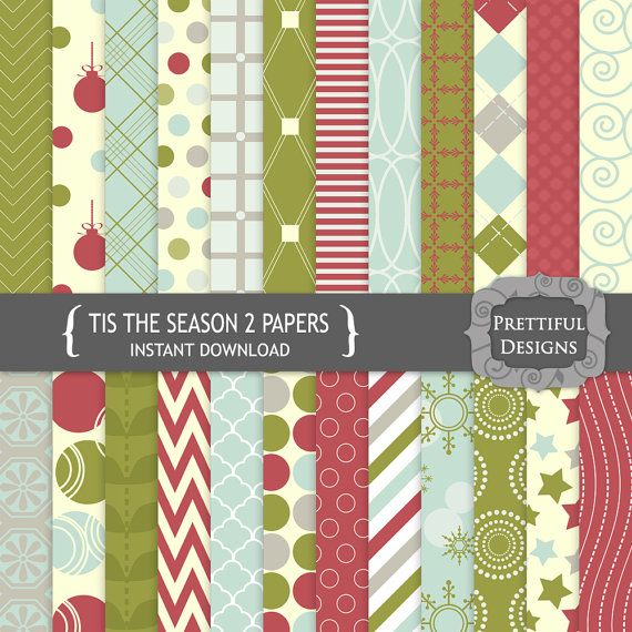 Digital Paper Pack  for Scrapbooking, Card Making, Invitations - Tis The Season Set 2 (781)