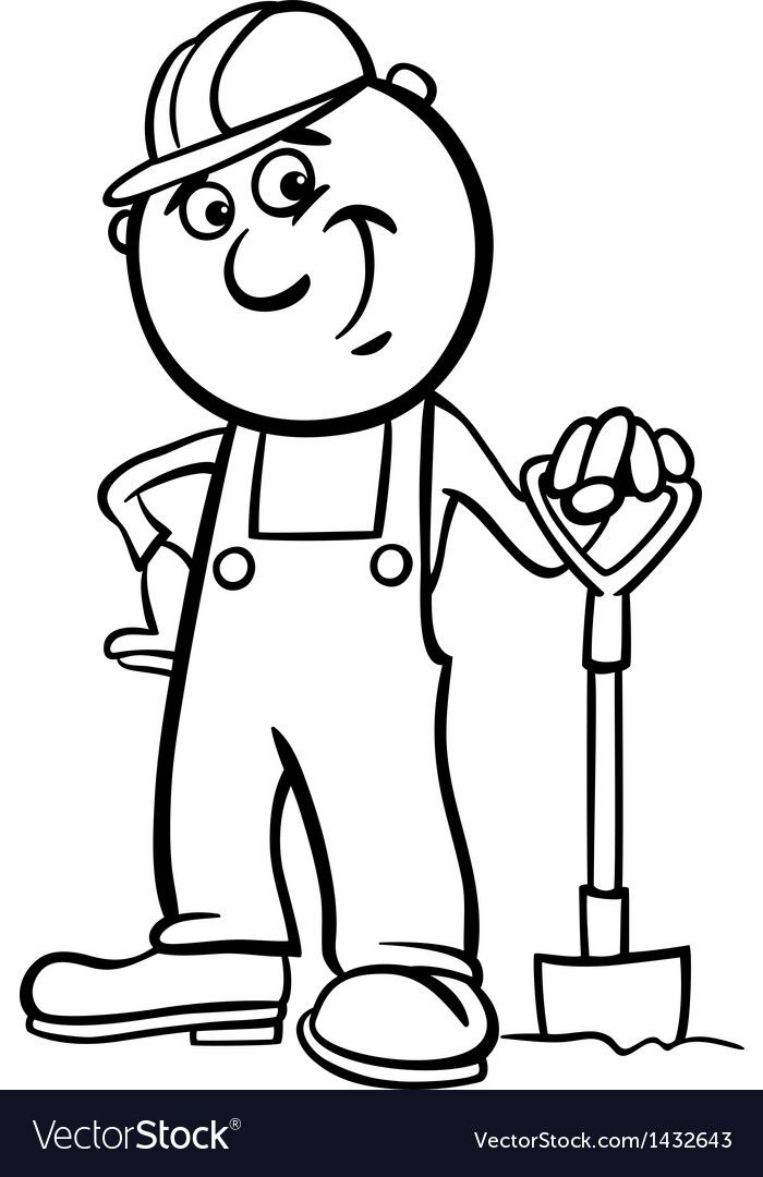 Worker With Spade Coloring Page Vector Image On Black And White