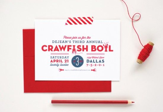 Summer Crawfish Boil Invitations by Palm Papers: Card Designs, Invitation Card Design, Party Invitations, Boil Invitations, Invitation Cards, Invitations 20, Cards Designs